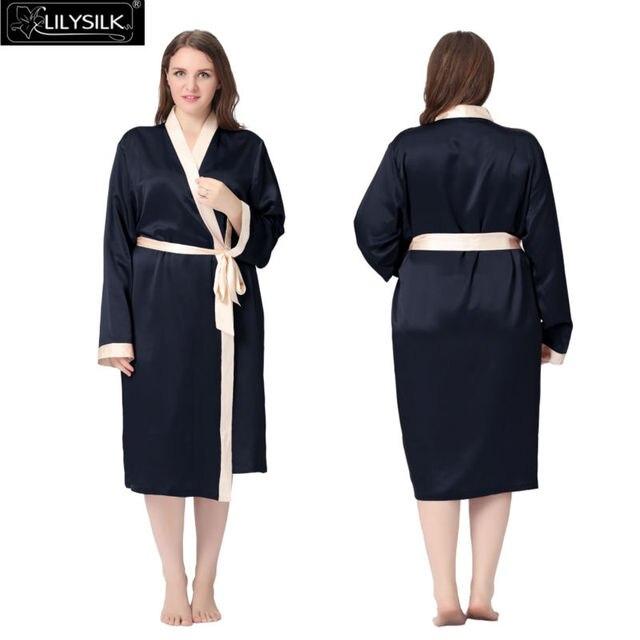 Lilysilk Sleepwear Silk Robe Women Dressing Gown Plus Size Long Bride Wedding Bathrobe Female 22 Momme Sexy Kimono Contrast Colo