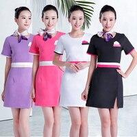 High quality Beautician work clothing summer health museum SPA uniform beauty salon cotton linen sets Kotofusa work wear sales