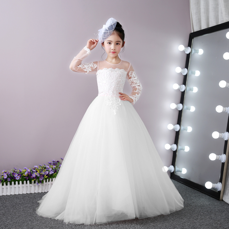 Lace Ball Gown Princess Dress Long Sleeve Girls Wedding Dresses Summer 2018 New Flower Girls Dresses Bridesmaid Costume D126 free shipping 2015 brand fashion new arrival summer girls embroider dress girls short sleeve princess flower ball gown hot sale
