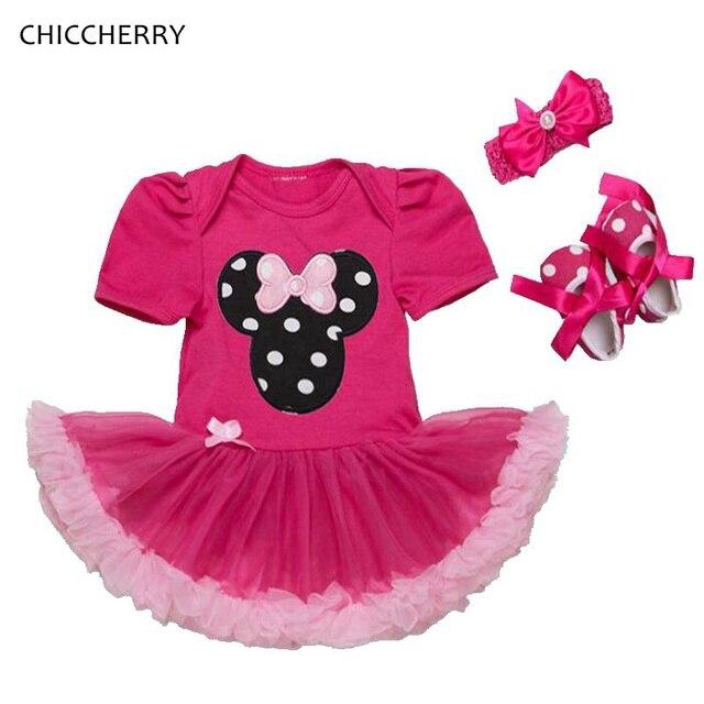 Ярко-Розовый Минни Baby Girl Одежда Горошек Младенческой Кружева туту Установить Заставку и Обувь Малыша День Рождения Наряды Свадебные Платья Партии Dress