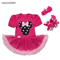 Hot Pink Minnie Baby Girl Clothes Polka Dots Infant Lace Tutu Set Headband Shoes Toddler Birthday