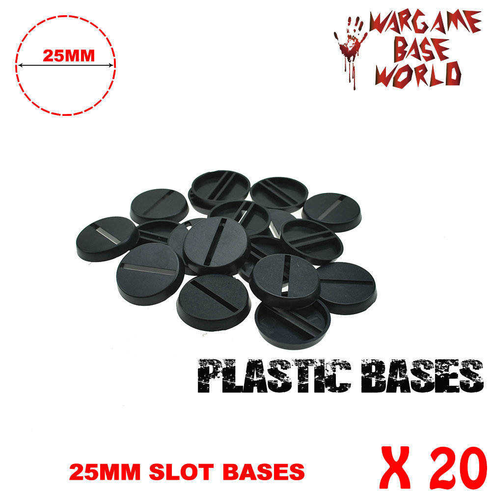 20PCS 25mm Round Bases For Gaming Miniatures Plastic Slot Bases