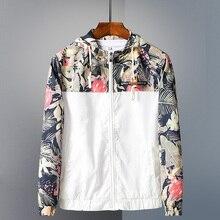 2019 Осень Новый Цветочный Бомбер куртка мужская с капюшоном куртки Верхняя одежда Повседневная Хип-хоп ветровка пальто Slim Fit цветы пилот пальто