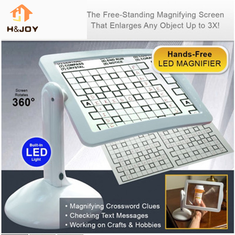 LED Screen Page Magnifier Brighter Reading Viewer Screen Loupe Hands-Free LED Magnifier With Light In White Lamp Up To 3X