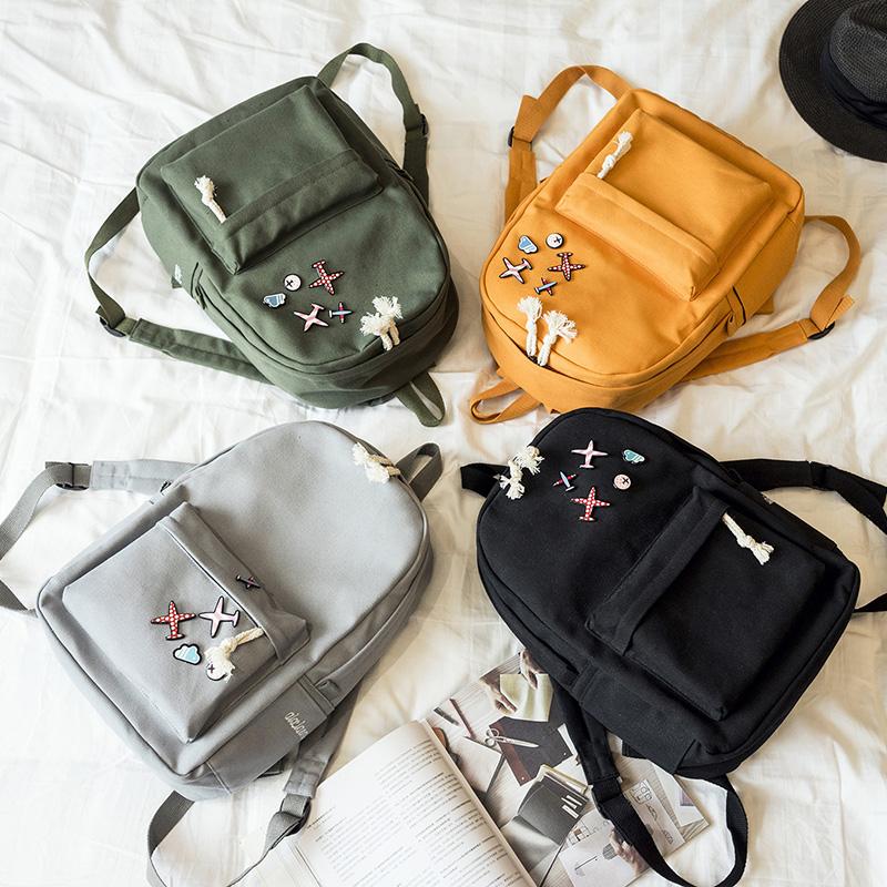 Menghuo 5 Pcsset Women Backpacks Cute Plane Badge School Bags For Teenage Girls Simple Canvas Backpacks Ladies Shoulder Bags (20)