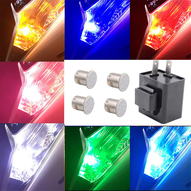 Electronic LED Turn Signals Flasher Blinker Relay 12V 2 Pin Motorcycle Relay + 4 COB Light Bulb 2017 lights