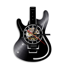 1Piece Musical Instruments Electric Guitar Design Vinyl Record Wall Clock Unique Modern Handmade Art Time Clock
