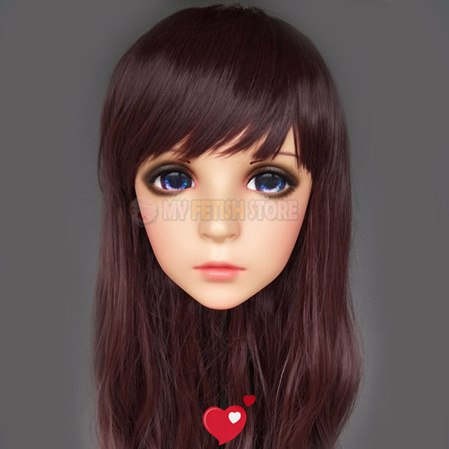 female Sweet Girl Resin Half Head Kigurumi Mask With Bjd Eyes Cosplay Japanese Anime Role Lolita Mask Crossdress Doll Refreshing And Beneficial To The Eyes feng-01 Costumes & Accessories