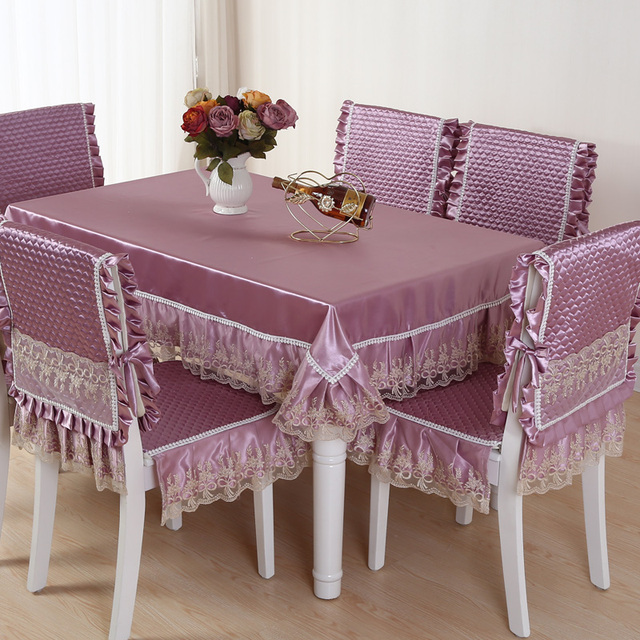 High Grade Quilting Cloth Table Cloth Chair Cover 4 Style Solid Color  Quilted Lace Embroidered Tablecloths