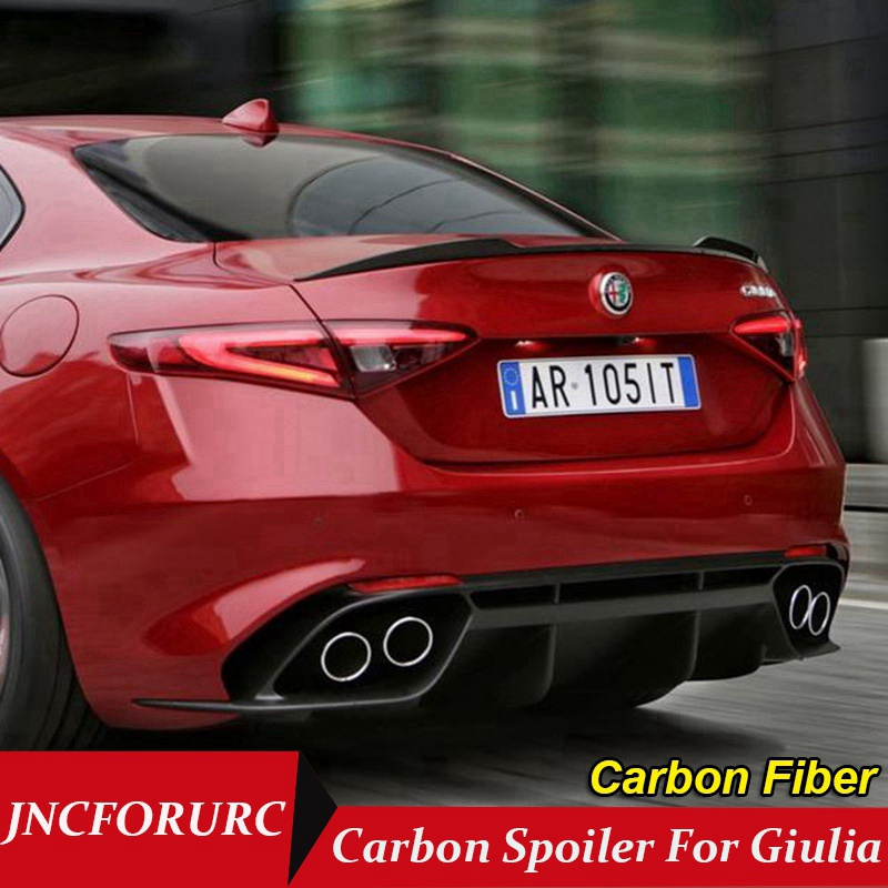 JNCFORURC Rear Trunk Spoiler For font b Alfa b font Remeo Giulia Carbon Fiber Material For