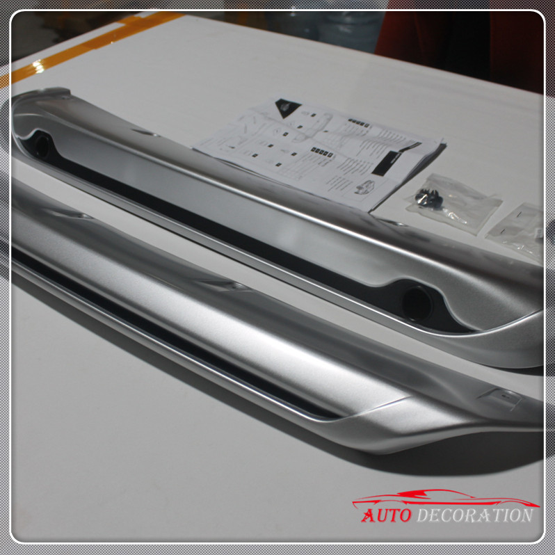 Rear part with radar hole! For Nissan Qashqai 2014 2015 2016 Front +Rear Bumper Skid Protector Guard Plate Cover 2pcs high end 2pcs front or back bumper cover stickers protector guard 3d streamline for mitsubishi asx bumper strip
