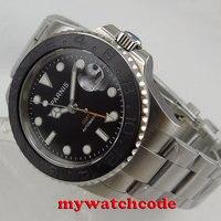 40 мм Parnis черный циферблат сапфировый матовый керамический ободок GMT автоматические мужские часы