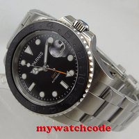 40mm Parnis Black dial Sapphire แปรงเซรามิค BEZEL GMT อัตโนมัติ Mens นาฬิกา