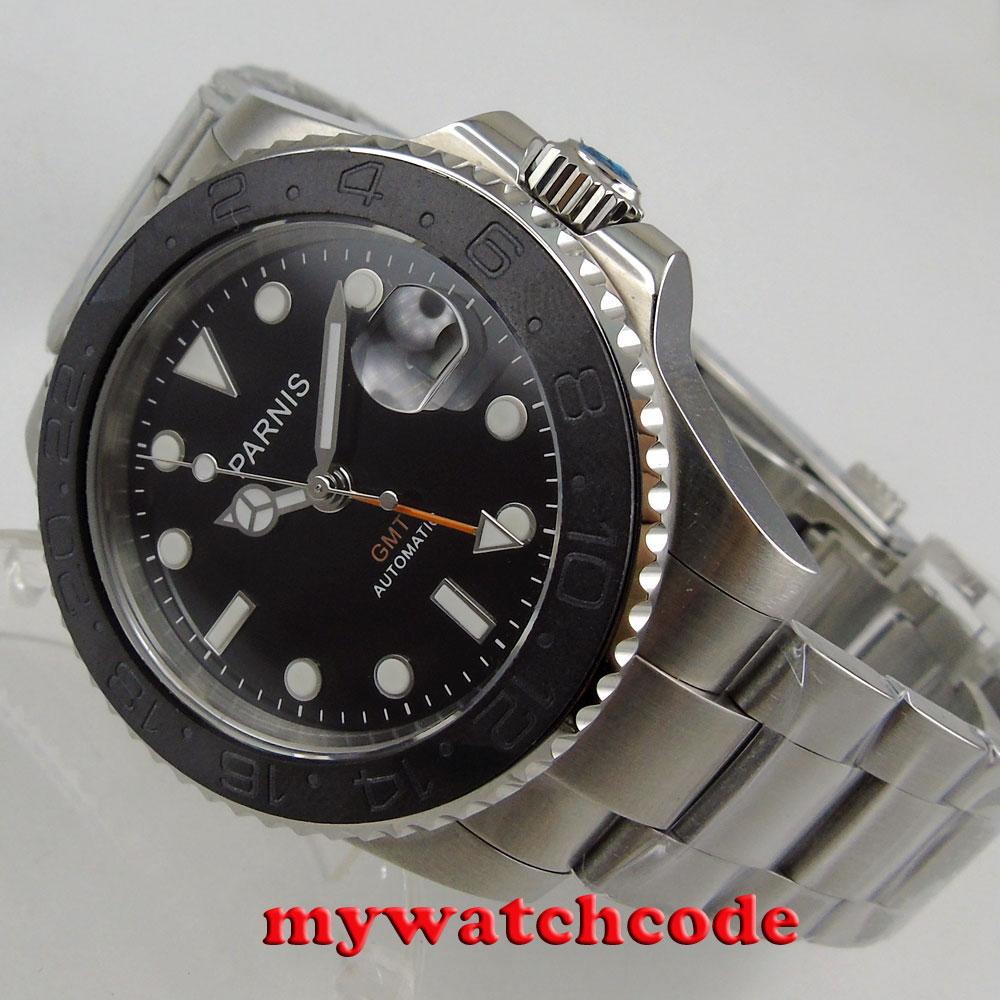 лучшая цена 40mm Parnis black dial Sapphire brushed Ceramic bezel GMT automatic mens watch