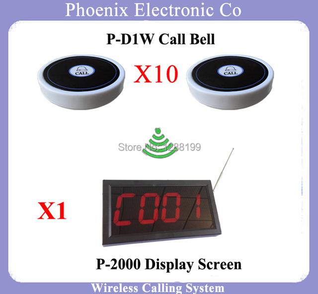 Wireless Pager Invitados Para Restaurante De Paginación Del Sistema Con 10 unids D1 Botón Campanas Y 1 unids Pantalla Receptor P-2000