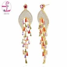 ZHE FAN Luxury Long Dangle Earrings Fashion Trapezoid CZ Prong Micro AAA Cubic Zirconia Earring Pave Earring Jewelry For Women