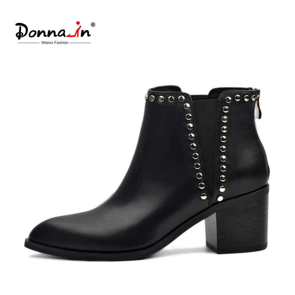 Donna-in 2018 Spring Women Genuine Leather Chelsea Boots Thick High Heels Ankle Booties Fashion Rivet Handmade Ladies Shoes donna in 2018 new style genuine leather ankle boots pointed toe thick heel chelsea boots calf leather women boots ladies shoes