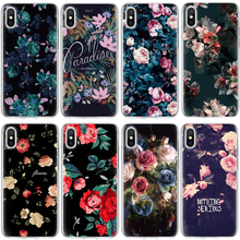 For iPhone X 4 4S 5S SE 5C 6 S 6S 7 8 Plus Coque For Xiaomi Redmi S2 4A 3S Mi A1 5X Note 3 4 4X 5A 5 Pro Black Flower Soft Case