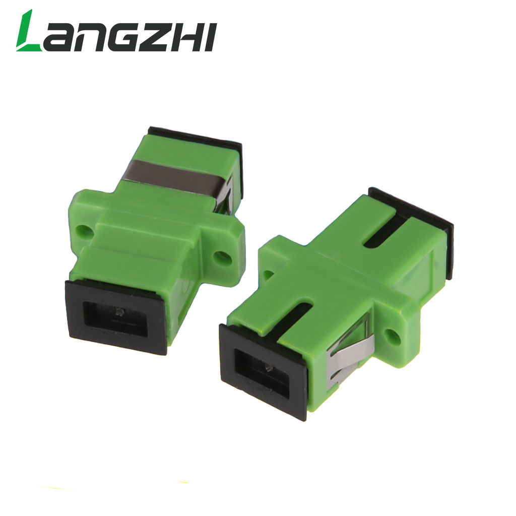 500pcs NEW Hot LANGZHI Split Telecom Grade SC APC Optical Fiber Connector Adapter Coupler Flange Special