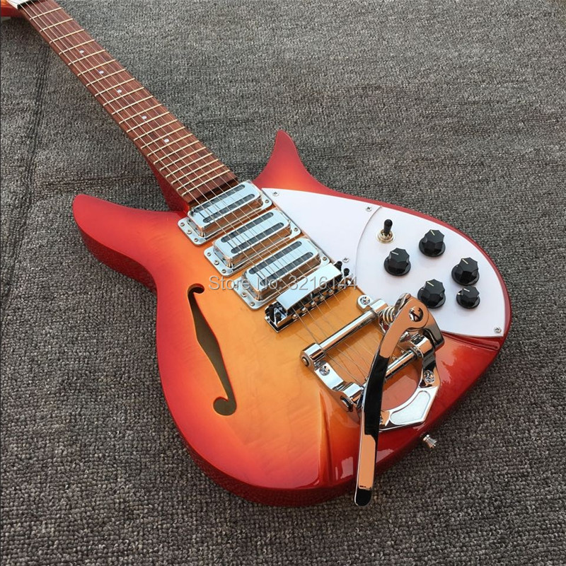 Tomate ovo cor-apoiador ricken 325 guitarra elétrica 3 peça de pick-up, fotos reais, guitarra cs,