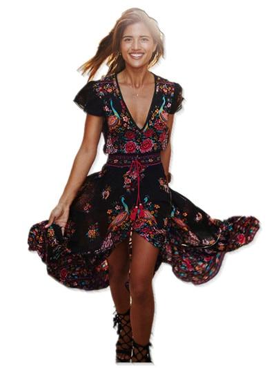 2017 Summer Boho Dress Ethnic Sexy Print Retro Vintage Dress Tassel Beach Dress Bohemian Hippie Dress Robe vintage Vestidos