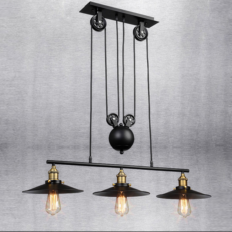 Vintage Iron Loft Industrial American Country Pulley Pendant Lights Adjustable Wire Lamps Retractable Bar Lighting single head vintage iron rh loft industrial led american country pulley pendant lampls adjustable wire retractable bar lighting