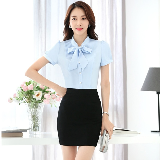7747ed6ef435 New Summer Professional Formal Uniform Style Work Wear Suits With 2 Pieces  Tops And Skirt Business Women Outfits Plus Size