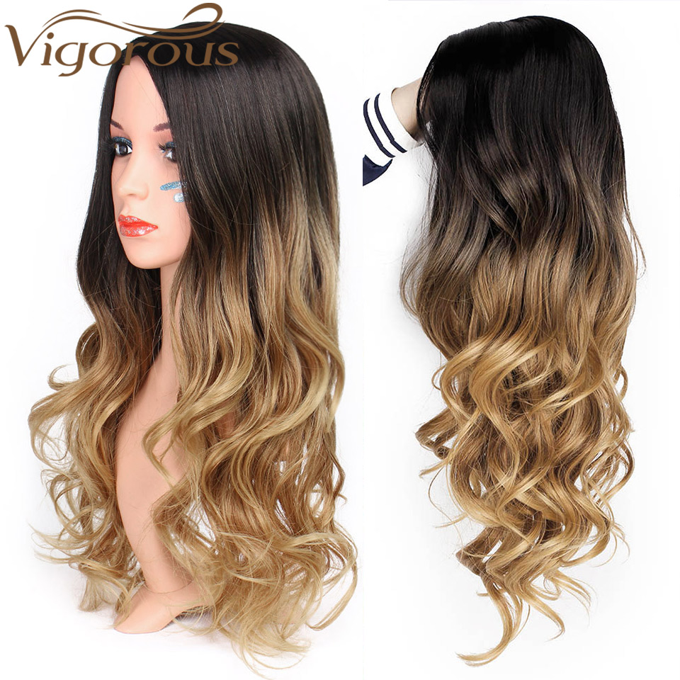 Wavy Wig Hair-Part Blonde Cosplay Vigorous Brown Natural Long Ombre Women Black/white