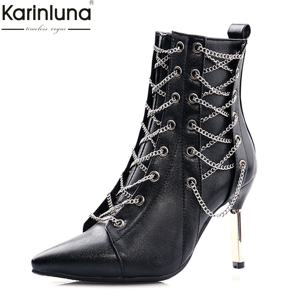 Brand design Big Size 32-48 Ladies High Heels Chain Pointed Toe Prom Women Shoes Woman Party Sexy Autumn Winter Ankle Boots