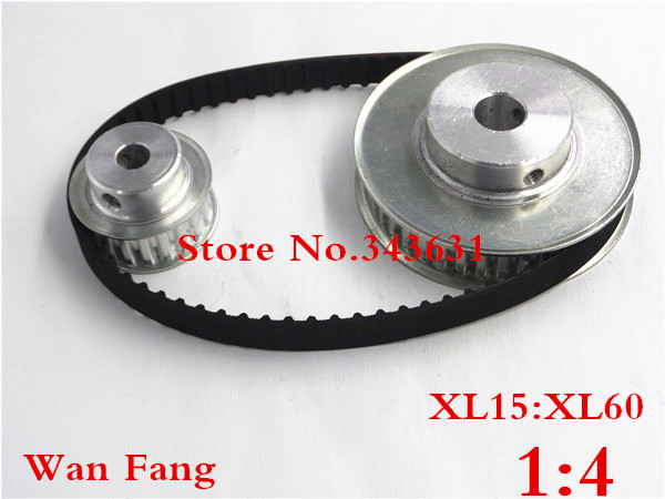 Timing Belt Pulley XL Reduction 4:1 60teeth 15teeth shaft center distance 100mm Engraving machine accessories - belt gear kit xl reduction 1 6 6 1 10t 60t timing pulley gear set shaft center distance 100mm for engraving machine timing belt pulley kit