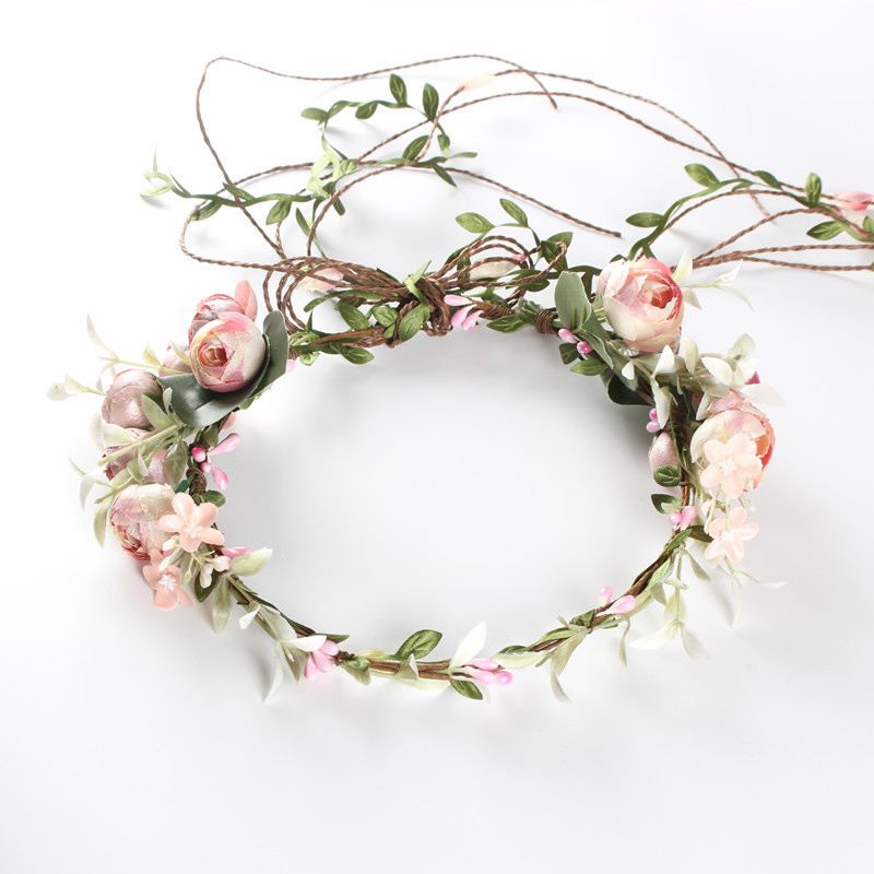Flower Tiara Girl Crown Headband Pink Blue Head Beach Bridal Flower Hair Comb Wedding Floral Bride Wreath Women Hair Garlands