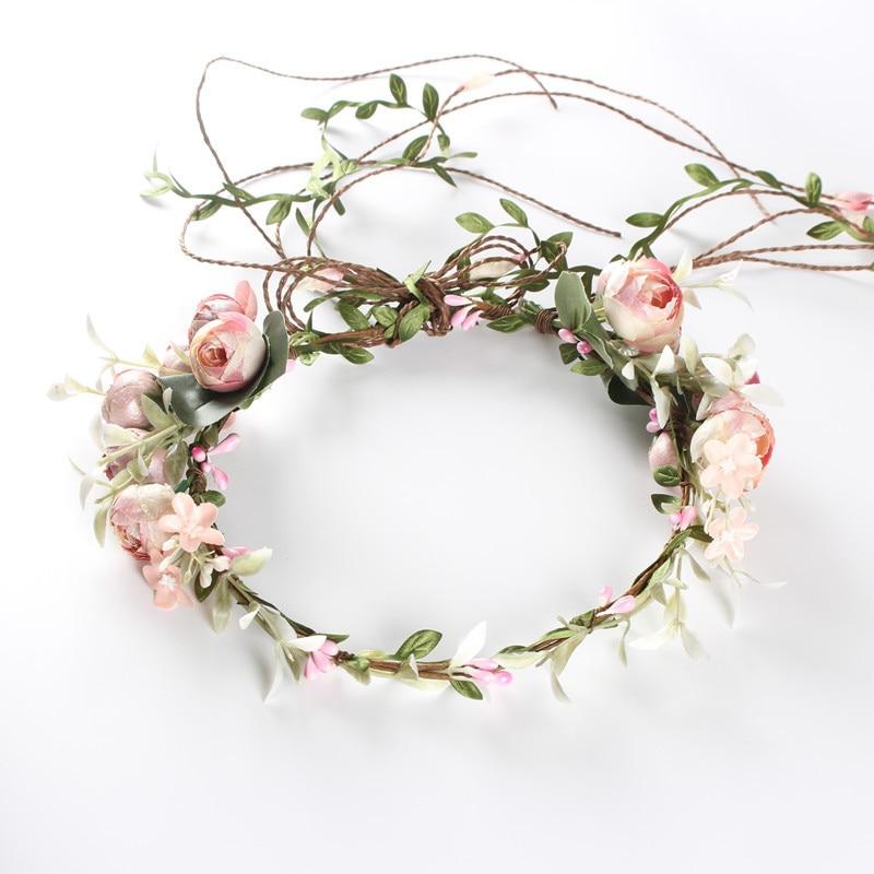Flower Tiara Girl Crown Headband Pink Blue Head Beach Bridal Flower Hair Comb Wedding Floral Bride Wreath Women Hair Garlands