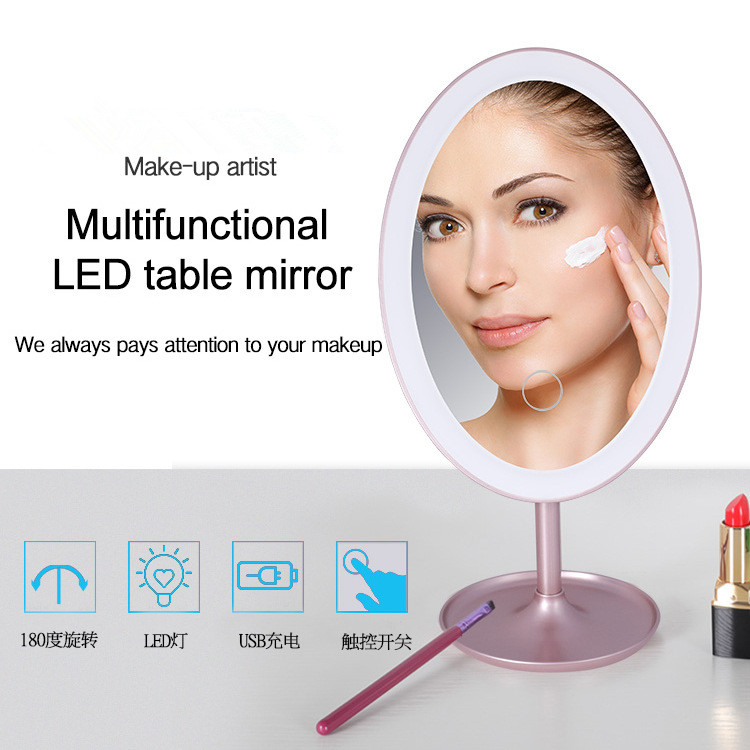 USB LED table mirror 3 levels Dimming makeup mirror fill light cosmetic mirrors For Dresser 3 in 1 led makeup mirror with table lamp for bedroom decor table storage cosmetic mirror usb charging rotation white pink color