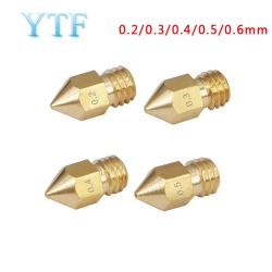 3D Printers Parts MK7 MK8 Nozzle 0.2 0.3 0.4 0.5 0.6 0.8mm Copper  Extruder Threaded 1.75mm Filament Head Brass Nozzles Part