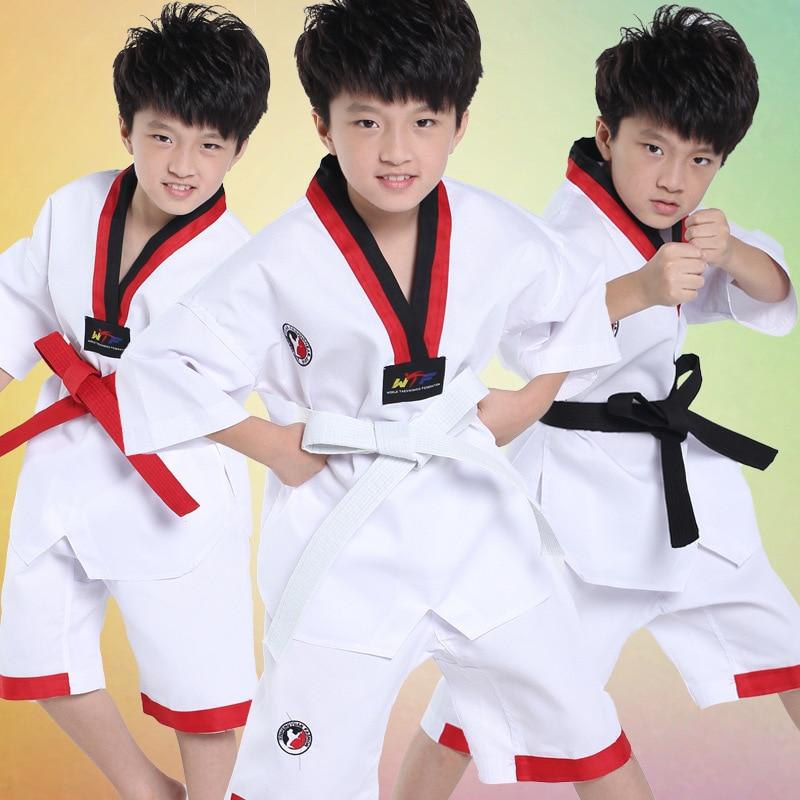 2017 Ребенок Взрослый Короткие добок тхэквондо униформы каратэ Санда Комплекты одежды Удобная Профессиональная форма