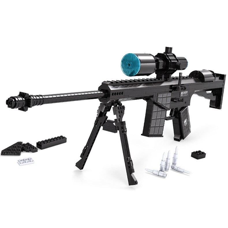 527 pcs diy nerfs elite pistolet m107 sniper rifle gun jouet Pistolet Modèle Building Block Set Jouet En Plastique Cadeau Pour enfants