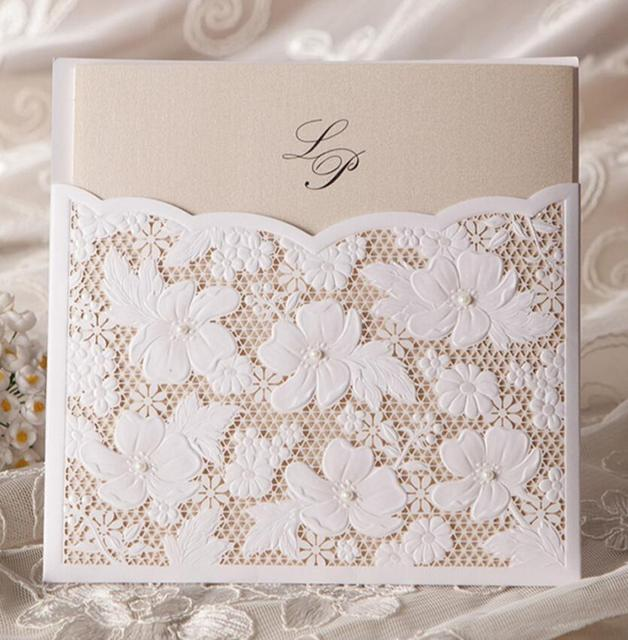 Laser Cut Flower Lace Pocket Wedding Invitations Card , Birthday Engagement  Invitation Cards Party Kits,