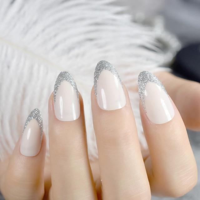 Beige Almond Design Nail Tips Kit Glitter V Shape Medium Point