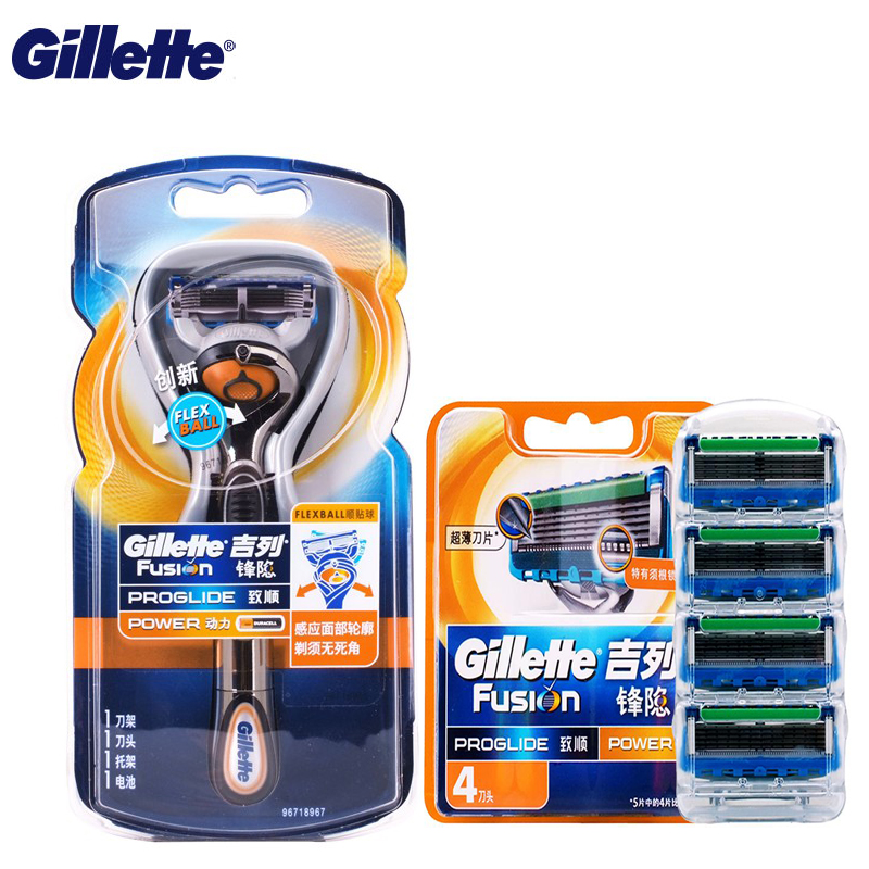 Gillette Rasoio Elettrico Fusion Power Flexball Rasatura Razor Blades For Men Genuino Cura del Viso 1 + 5 Titolare blads