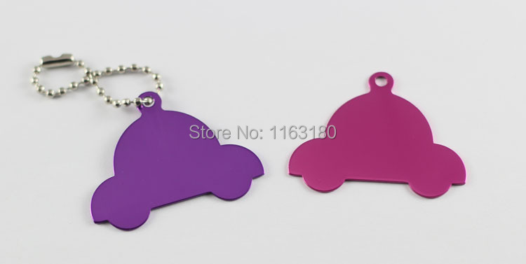 1000 pcs/lot Aluminum Car Shaped Pet ID Tag Engraved Dog Cat Personalized Luggage Tag