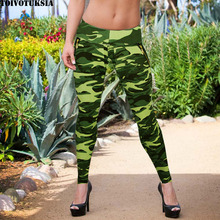 TOIVOTUKSIA Camouflage Leggings Female Leggings High Waist Patchwork Stretchy Slim Army Camo Leggings