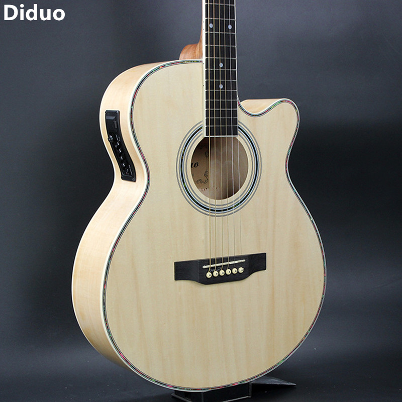 Diduo Hot 40 Inch Folk Acoustic Guitar With EQ Basswood Guitar Excellent Quality And Cheap Price Transparent Color Free Shipping 38 inch folk guitar to send full color gifts string linden wood guitar six strings with free shipping