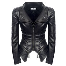 Rosetic Women Jacket Black Coat Fashion Motorcycle 2019 Outerwear Faux Leather PU Gothic Coats