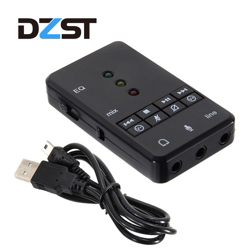 DZLST USB 2.0 External Sound Card 7.1 Channel with 3.5mm Headset Microphone 3D Audio Adapter for Tablet PC Desktop Notebook Звуковая карта