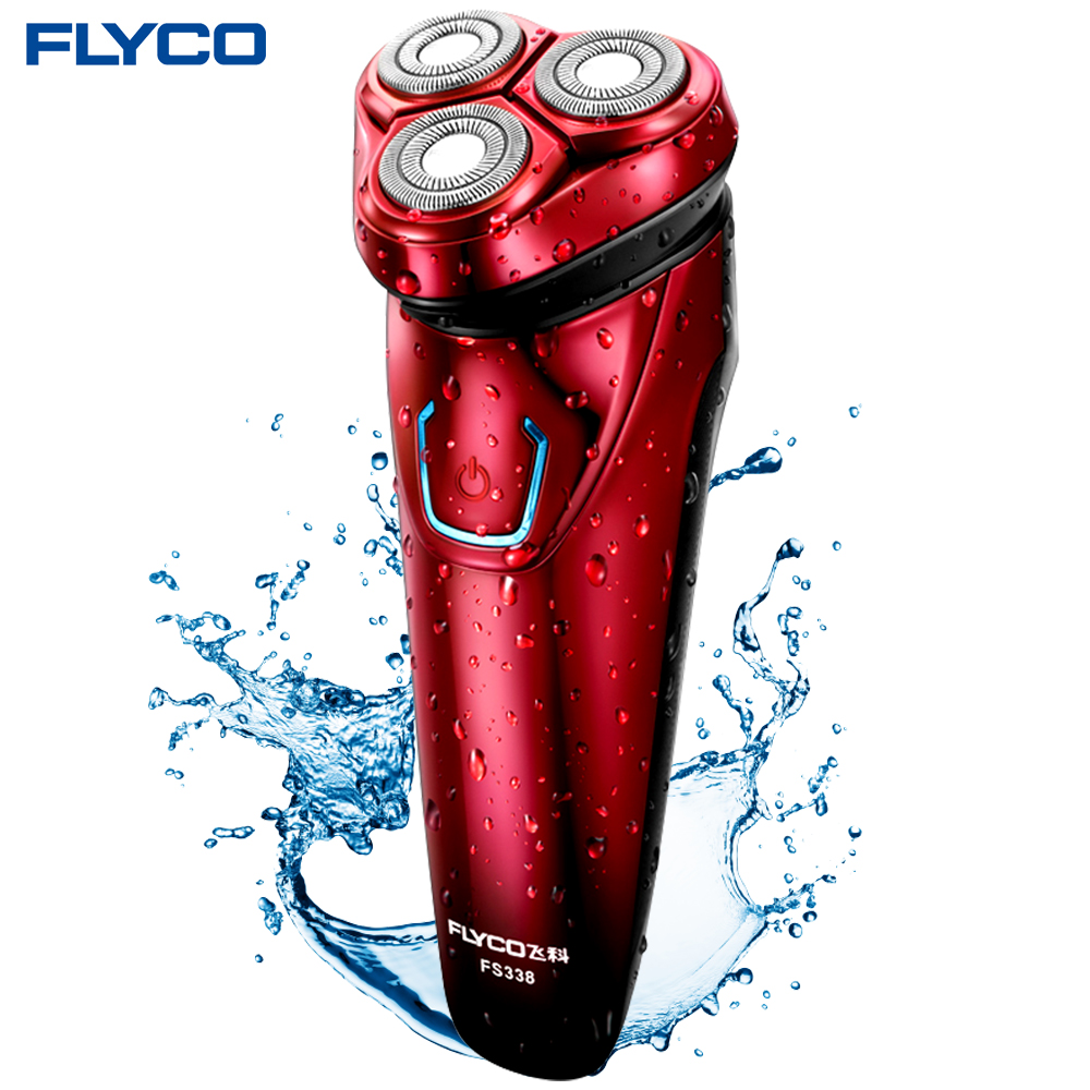 Flyco Washable Rechargeable Rotary Men's Electric Shaver Razor with 3D Floating Heads 1 Hour Quick Charge Hair Removal FS338 электробритва flyco 3d fs370fs372