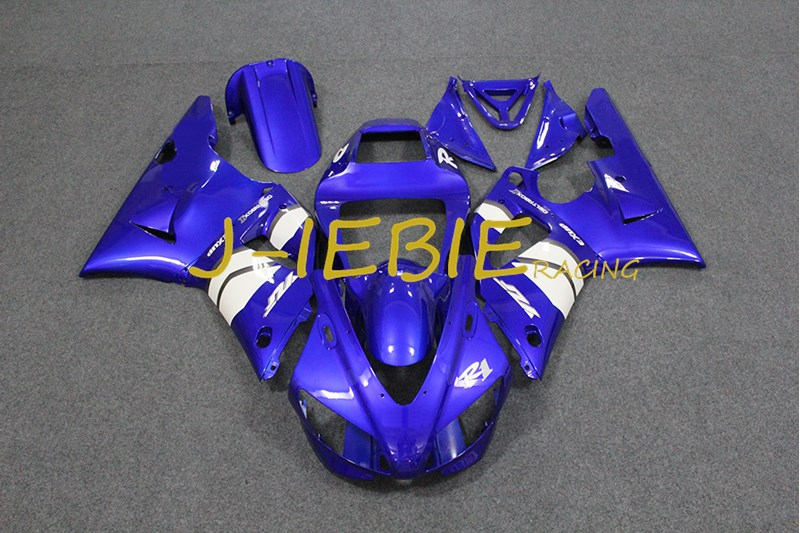 Blue white Injection Fairing Body Work Frame Kit for Yamaha YZF 1000 R1 1998 1999