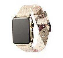 2018 кожа часы ремешок для Apple Watch черный, серебристый цвет металлический разъем белая полоса Браслет замена для iWatch 38 мм 42 мм ремень