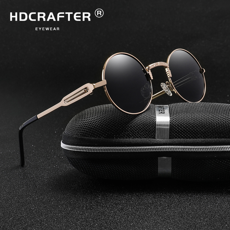 Sunglasses men Polarized Round Metal Steam Punk Sung Lasses Women Mirrored Glasses Brand Designer Retro Vintage Oculos UV400
