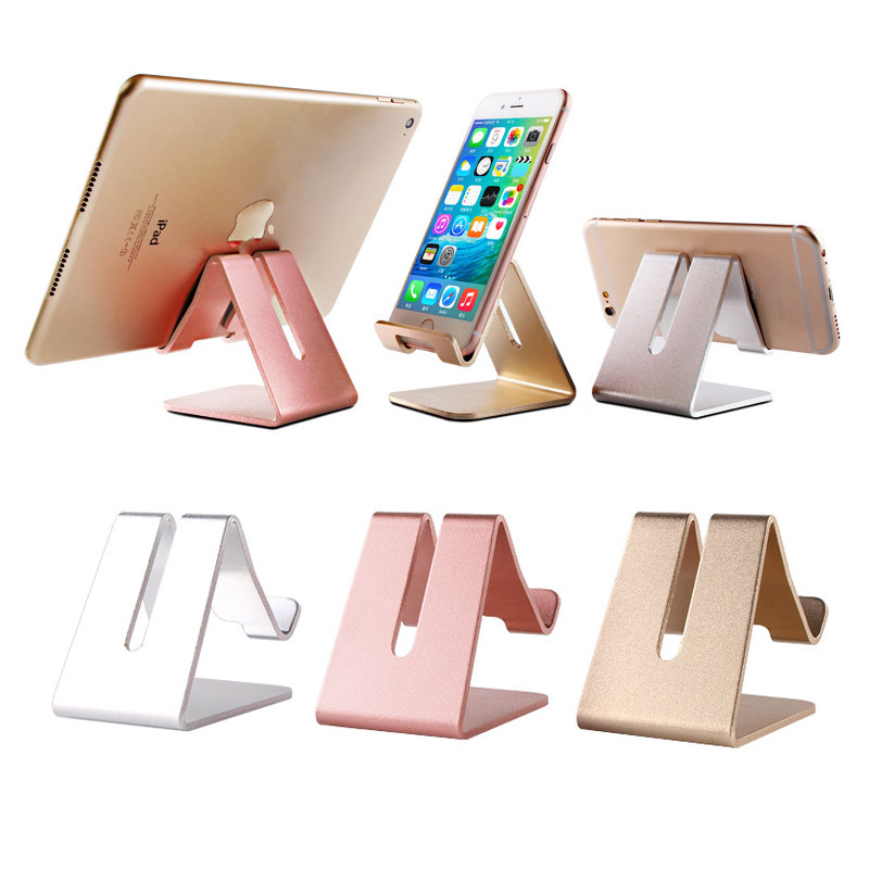 ET Universal Phone Holder Metal Anti-slip Cell Phone Holders Desktop Desk Mount Phone Stand for iPhone Smartphone Samsung Tablet