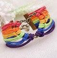 Infinito pulseiras do arco-íris pulseiras Multi Layer trançada arco-íris do amor do coração cor pulseira de couro Charm pulseiras